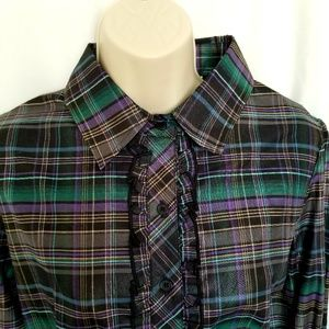 Vtg Plaid Ruffle Blouse